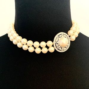 PEARL NECKLACE, DOUBLE STRAND SIDE PENDANT, 16 in